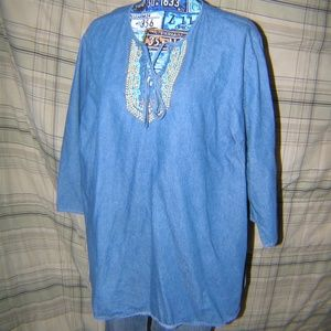 Pre Owned Ladies Denim Beaded Top